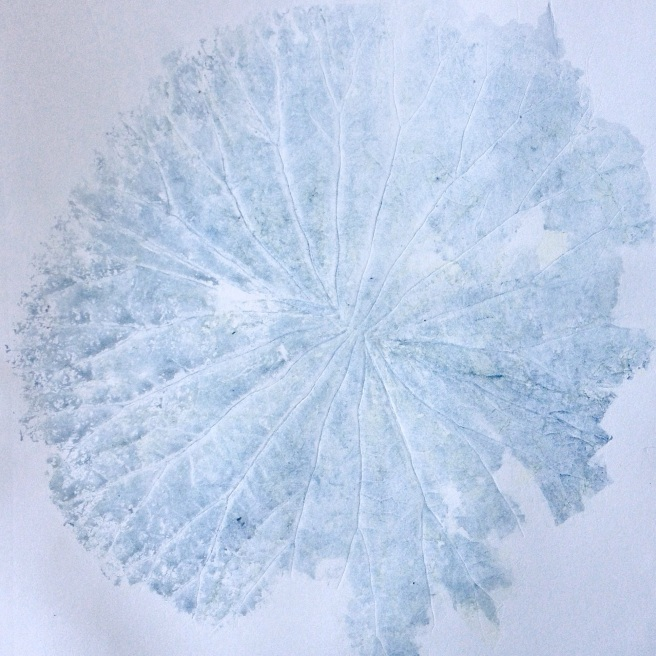 Indigo Lotus Leaf - Monoprint - Melinda Blair Paterson - 2015