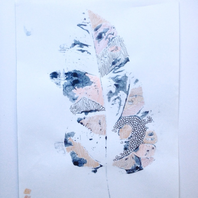 Indigo Pen Pencil Leaf - Monoprint - Melinda Blair Paterson - 2015